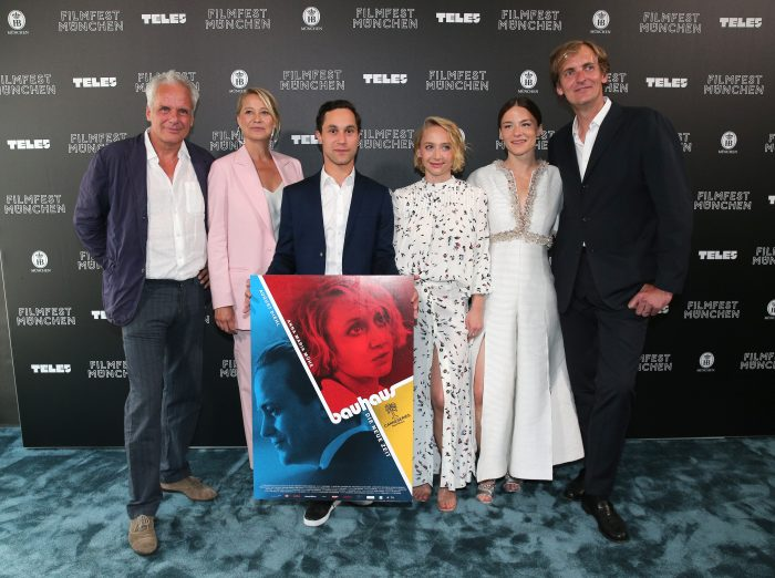MUNICH, GERMANY - JUNE 28: Producer Thomas Kufus , Trine Dyrholm, Ludwig Trepte,  Anna Marie Muehe, Valerie Pachner and Director Lars Kraume during the