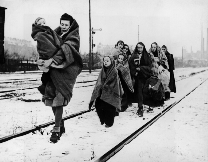Berlin. This handful of women and children are all that survived from 150 persons who left Lodz, Poland, on October 14, to trek to Berlin. All the other people died by the wayside, overcome with hunger and exposure. These plodded on, hoping to find the end of their troubles in Berlin, but the German capital they remembered is no more. It is a waste as barren as any they passed through on the terrible journey. Hundreds of thousands of displaced persons like these are facing the hardest winter of their lives in the war-torn continent.